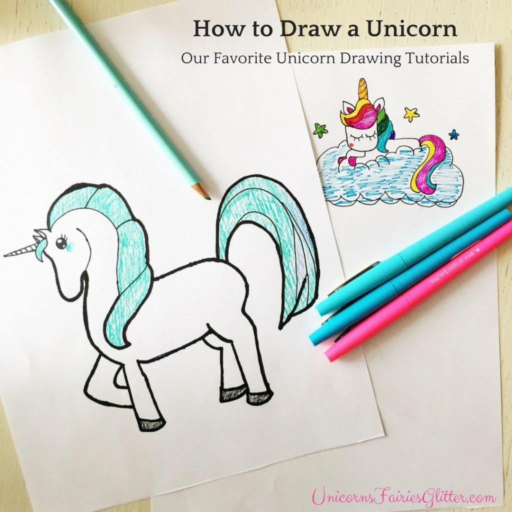 How to Draw Unicorns - Our Favorite Unicorn Drawing Tutorials - UnicornsFairiesGlitter.com