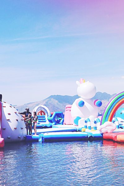 Inflatable slides at Unicorn Island - Unicorns Fairies & Glitter