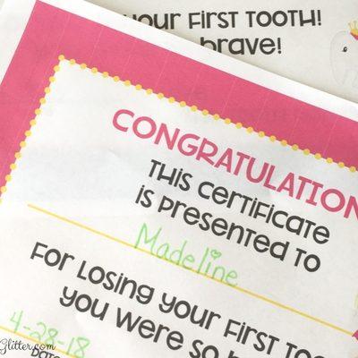 Free Tooth Fairy Certificates - UnicornsFairiesGlitter.com