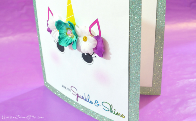 DIY Unicorn Glitter Mother's Day Card Craft- UnicornsFairiesGlitter.com