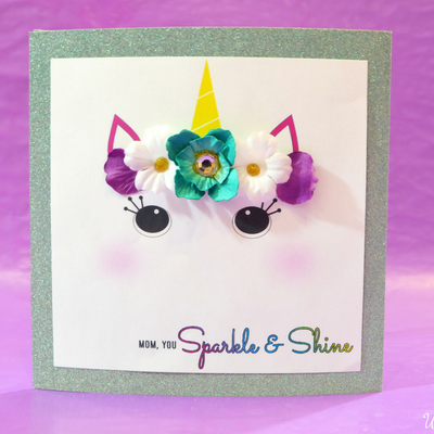 Glitter Unicorn Mother's Day Card Craft- UnicornsFairiesGlitter.com