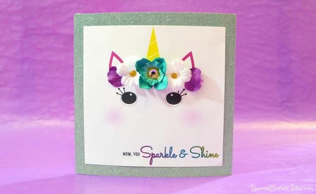 Glitter Unicorn Mother's Day Card Craft- UnicornsFairiesGlitter.com