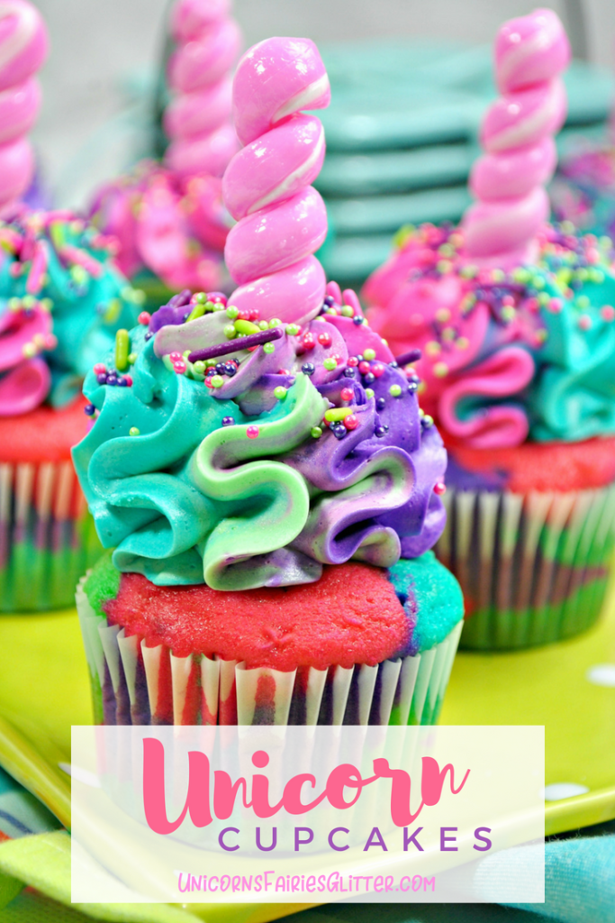 Unicorn Cupcake Recipe for Unicorn Birthday Parties - UnicornsFairiesGlitter.com