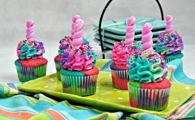 Unicorn Cupcakes Recipe for Unicorn Themed Parties - UnicornsFairiesGlitter.com