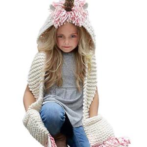 Crocheted Unicorn Scarf with Hood
